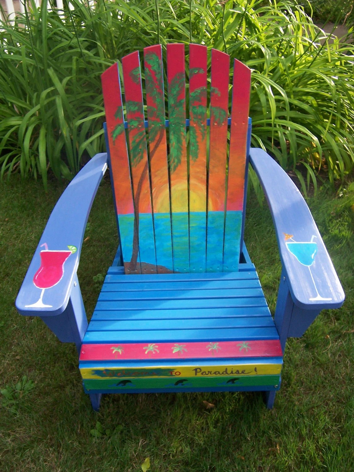 painted adirondack chairs bright accent items similar to margaritaville jimmy buffett style hand chair on etsy