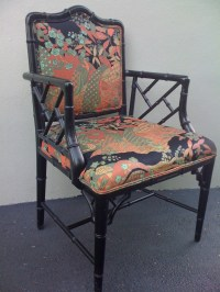 Chair Faux Bamboo Chinese Chippendale Chinoiserie Fabric HOLD