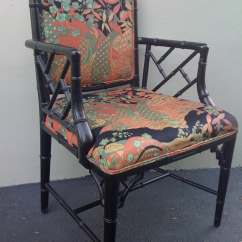 Chinese Chippendale Chairs Dining Set Of 6 Chair Faux Bamboo Chinoiserie Fabric Hold