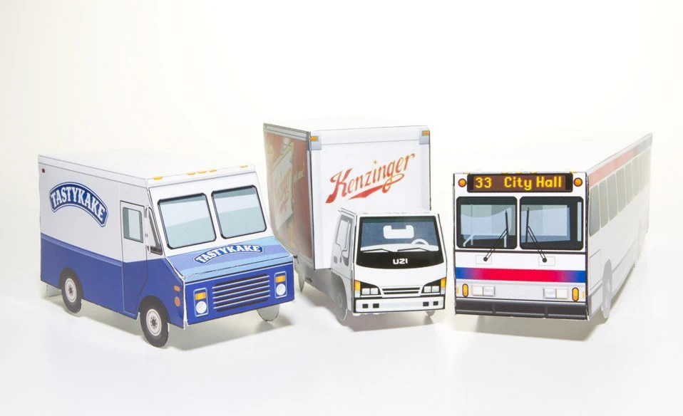 Philadelphia Vehicle Set - papercraft kit - GrandCircus
