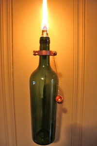 4 Wine Bottle Oil Lamps INDOOR Hurricane by GreatBottlesofFire