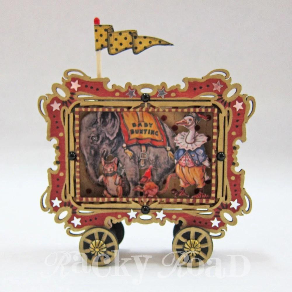Vintage Circus Train Elephant Car Altered Altoid Tin