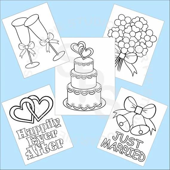 5 Printable Wedding Favor Kids coloring pages PDF or JPEG file