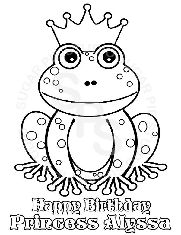 Personalized Printable Princess frog Birthday Party Favor