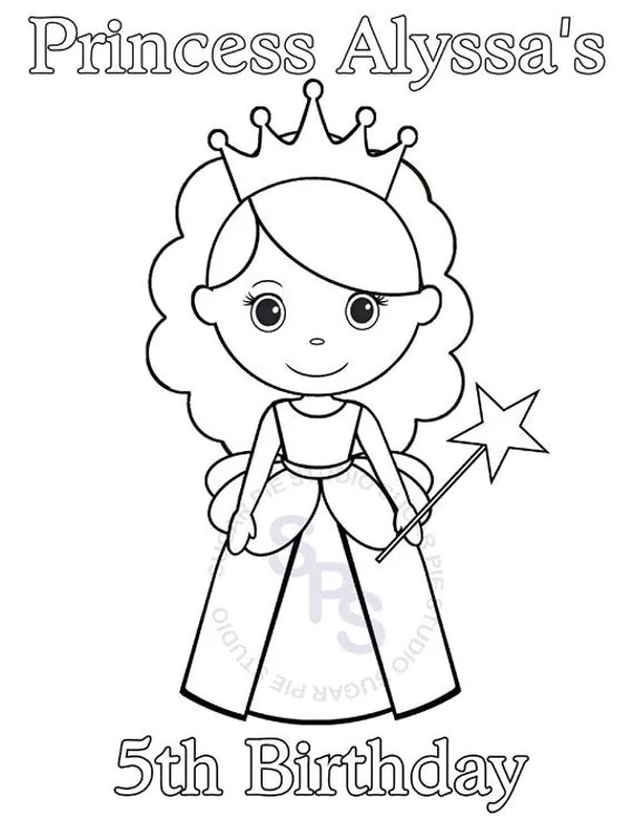 Personalized Printable Princess Birthday Party Favor childrens