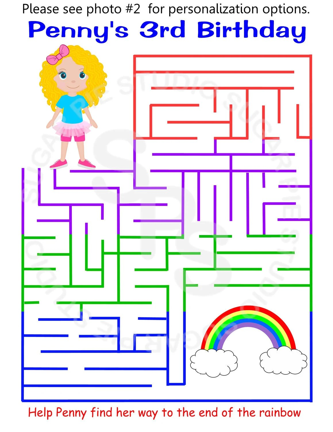 Printable Personalized Rainbow Activity Maze Girl Sheet Party