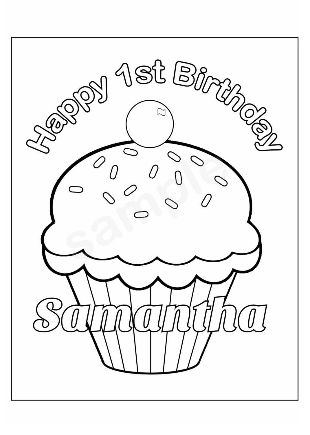 Personalized Printable Birthday Cupcake cup cake by