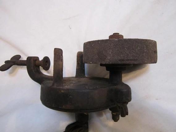 Vintage Bench Hand Crank Grinder Stone