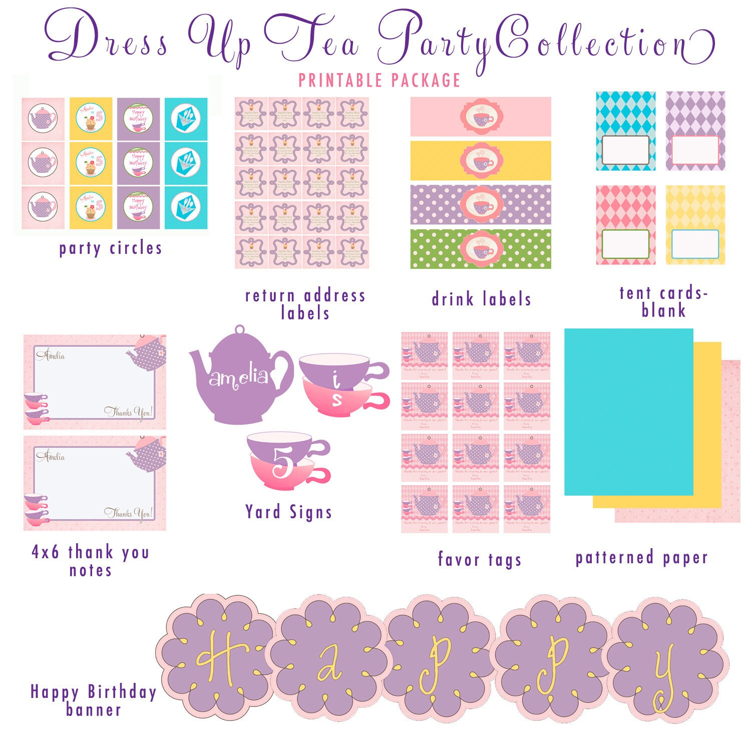 Dress Up Tea Party Customized Printable By Libbylanepress