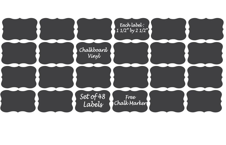 Chalkboard Vinyl Labels 48 100 150 200 Mason Jar By