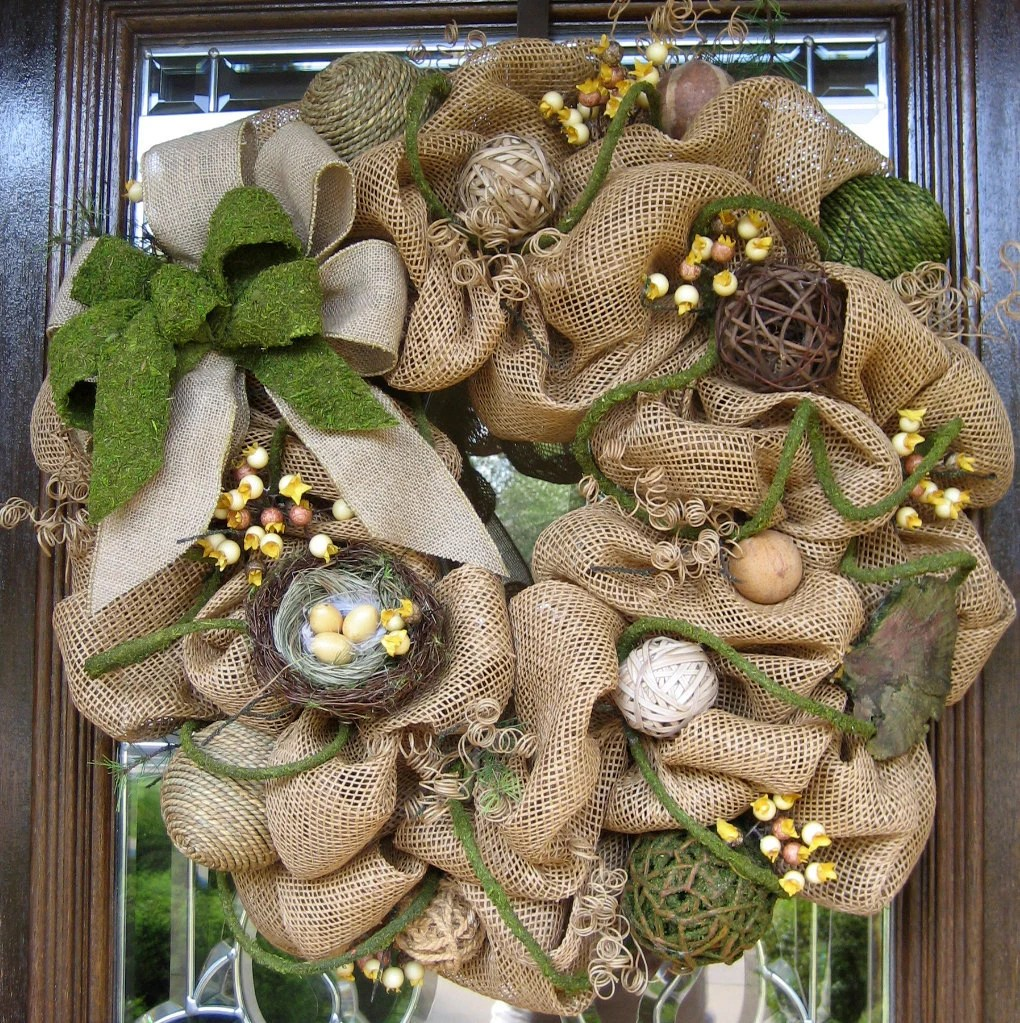 Deco Mesh BURLAP WREATH With Moss And Burlap Bow