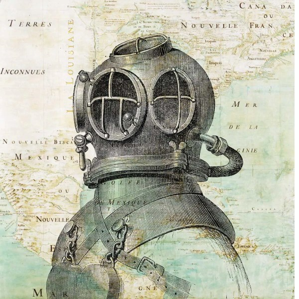 Scuba Diver Helmet Print Antique Map Of East America Nautical