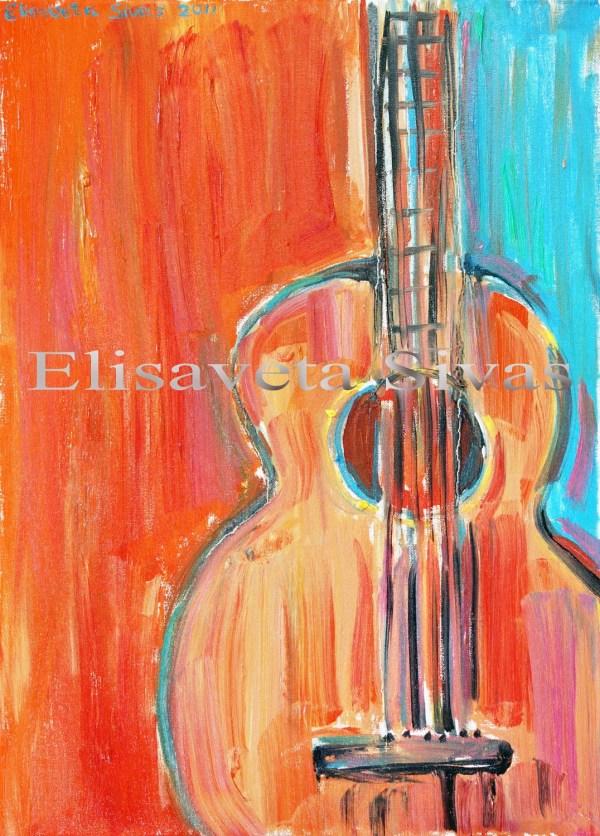 Original Oil Painting Guitar Paintings Modern