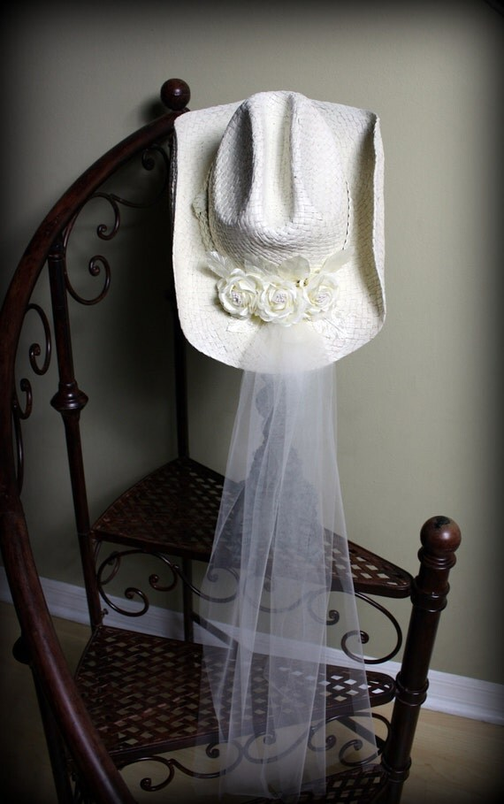 Ivory Cowgirl Hat Bridal Hat with Veil by MorganTheCreator