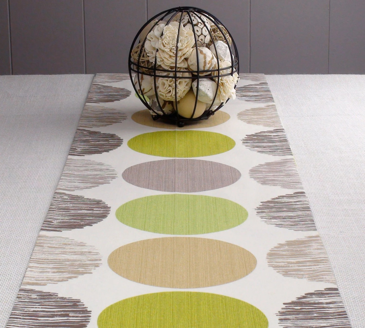 "White Table Runner - Green Color, Lime, off-White Color,  Modern Table Runner 108 inch 108"" long"