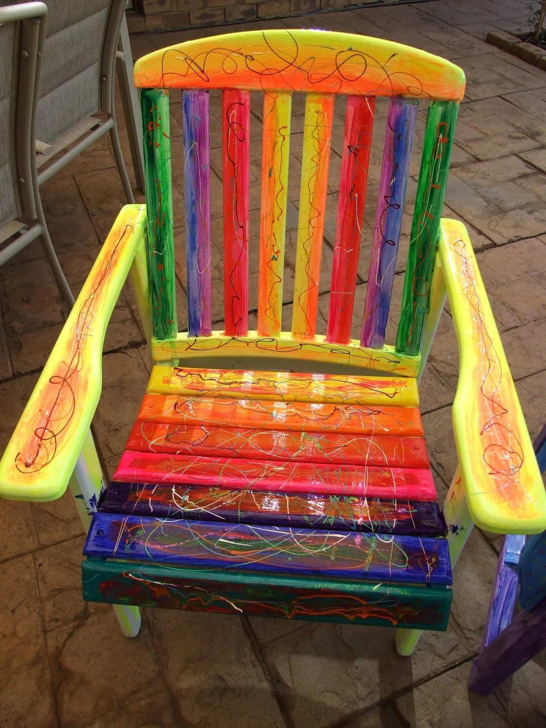 funky wooden chairs toddler round table and rainbow vibrant chair ooak uniquely hand painted