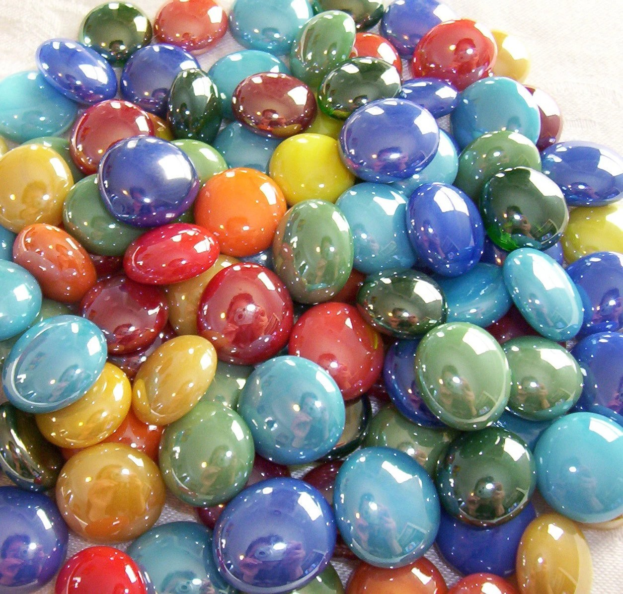100 Glass Gems Tropical Mix Mosaic Supplies Half Marbles