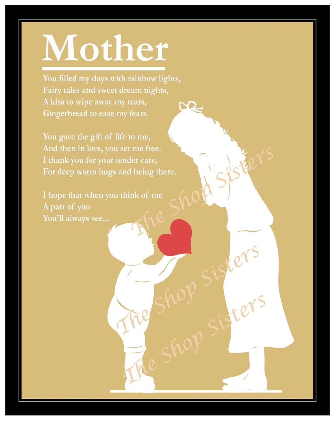 Mothers Day Mother and Son Poem Heart Silhouette Natural