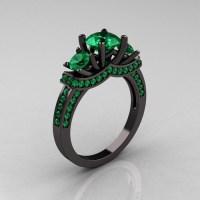French 14K Black Gold Three Stone Emerald Wedding Ring