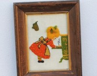 Vintage Kitchen Decor 3D Wall Art Framed Embroidery Little