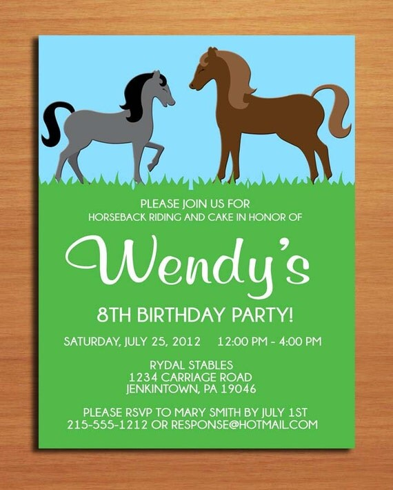 Horse Pony Birthday Party Invitation Cards PRINTABLE DIY