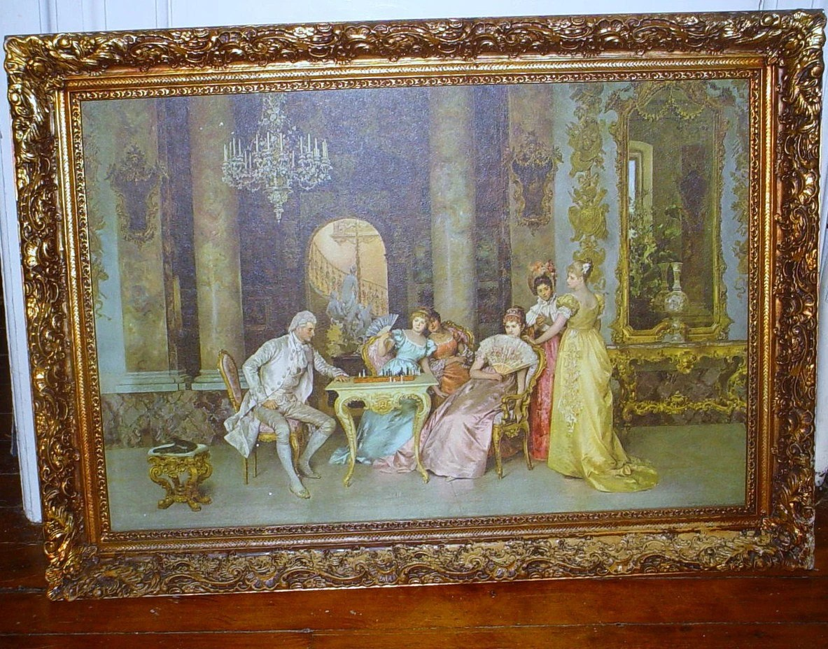 Vintage Italian Victorian Gesso Framed Print The Chess Game by