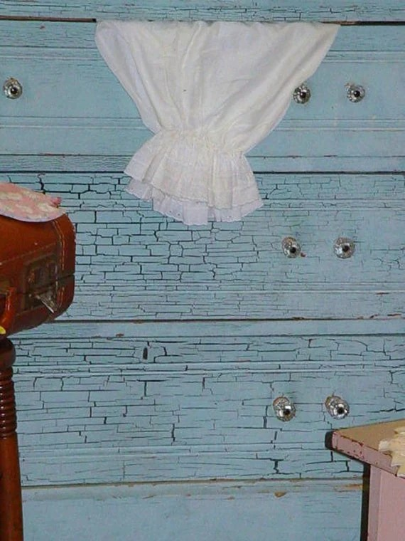 Antique Dresser Old Crackle Blue Paint Cottage Chic and Shabby