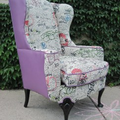 Where To Get Chairs Reupholstered Ergonomic Chair Bd Vintage Wing Back Graffiti