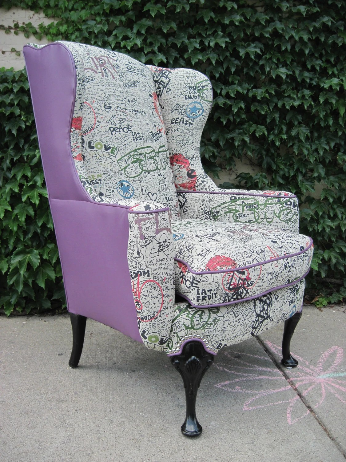 Wing Back Chairs Vintage Reupholstered Wing Back Graffiti Chair