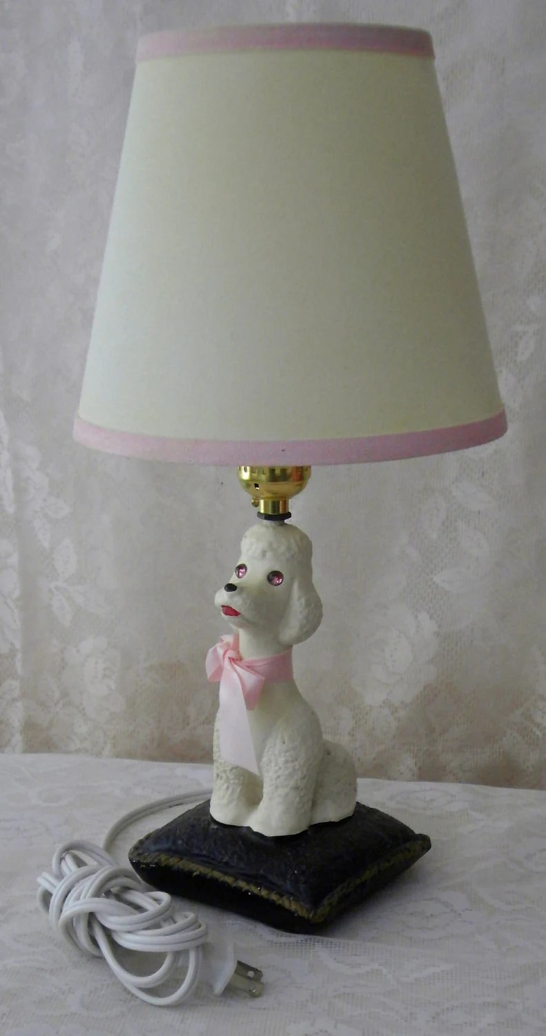 Vintage Chalkware White Poodle Desk Lamp Pink Jeweled Eyes