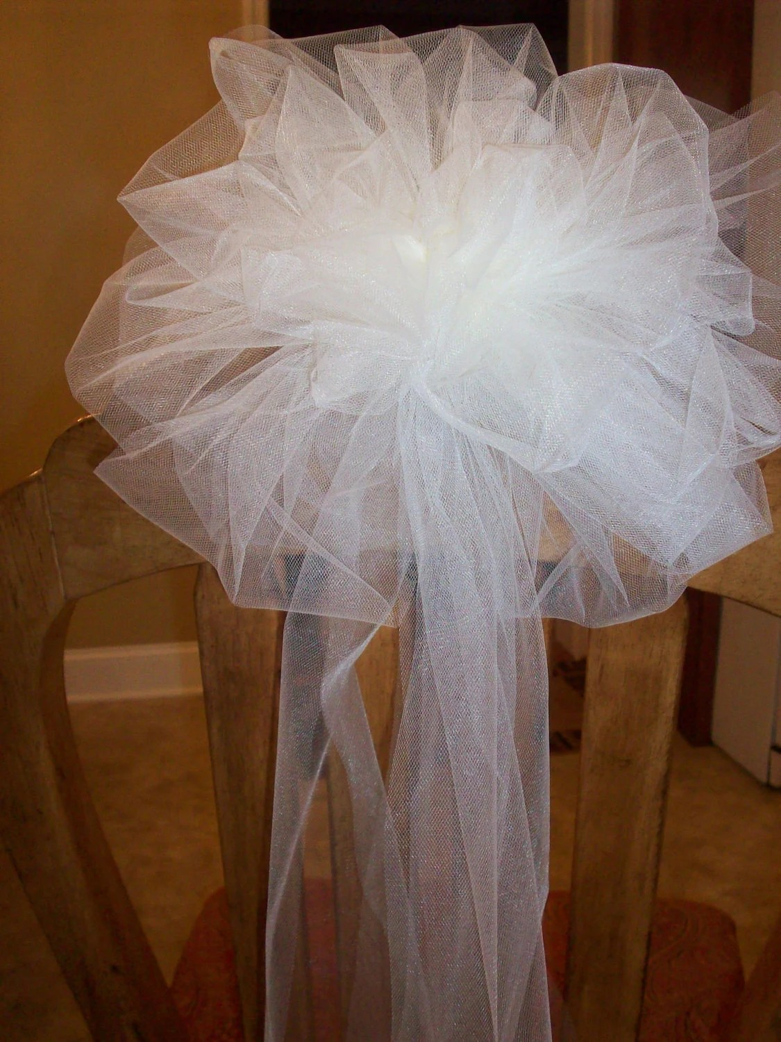 tulle chair covers for wedding padded club pew arch fench trellis bows full and fluffy 10