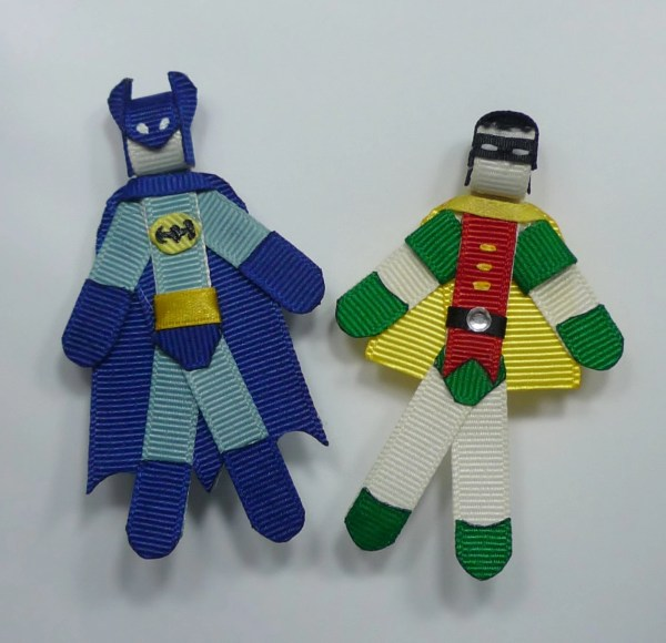 Batman And Robin Hair Clip Set Ribbon Sculpture