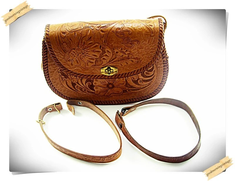 Leather Tooled Purse with Flower Design by GoodMorningVintage