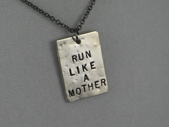 RUN LIKE a MOTHER Necklace  - Running Mom Necklace on 18 inch gunmetal chain - Running Mom Jewelry - TheRunHome