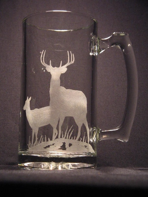 One wildlife engraved glass Deer design beer mug