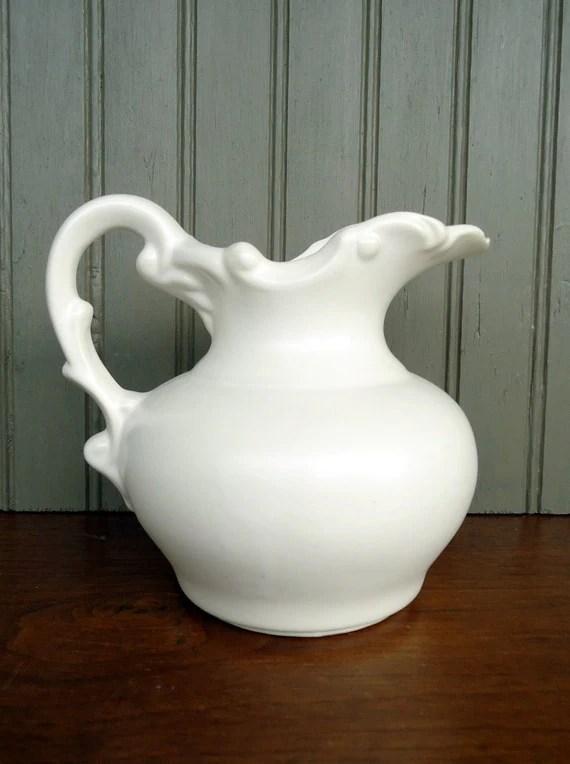 Vintage White Pitcher Pottery Ceramic Vase Shabby Chic Home