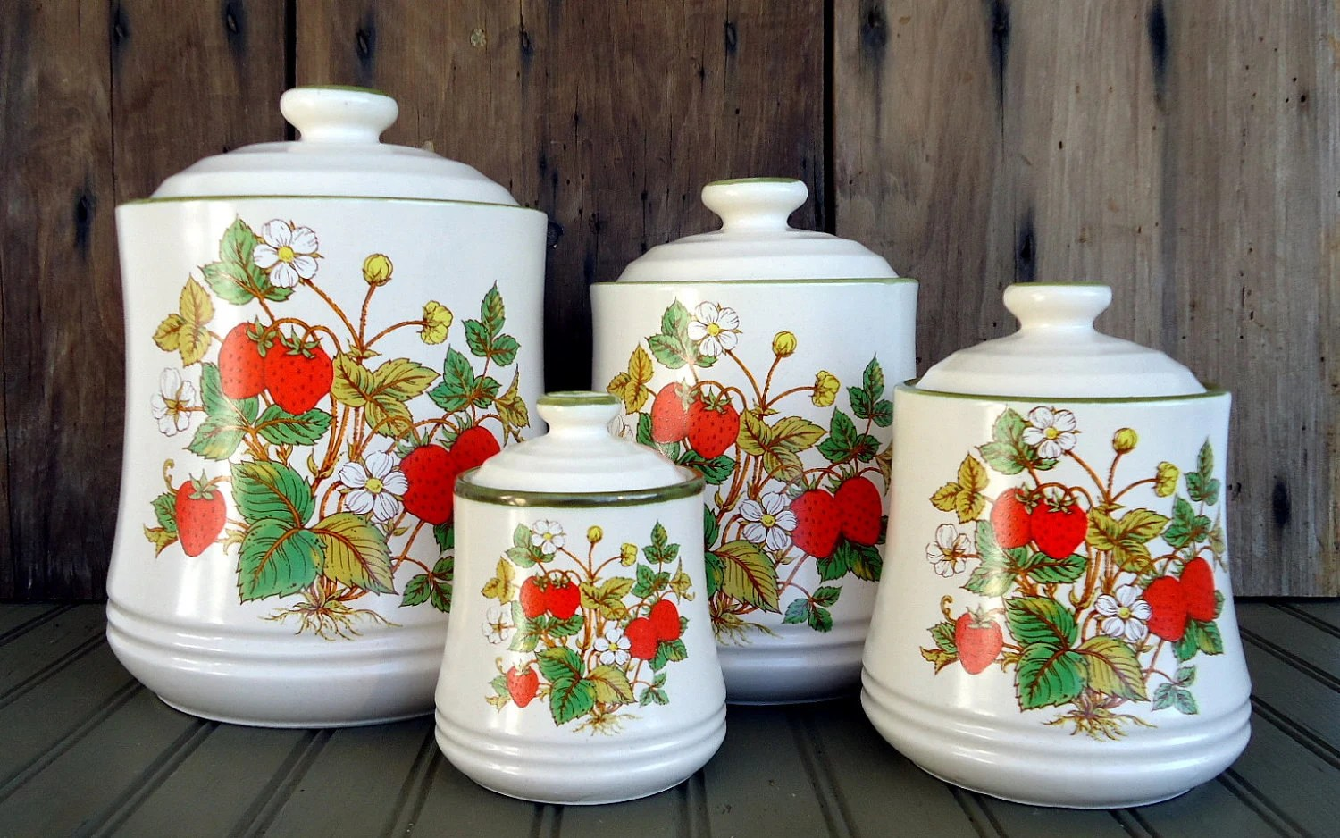 kitchen canisters ceramic rug for under table vintage strawberry canister set japan retro