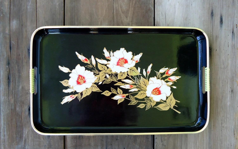Vintage Serving Tray Black Handle Retro Toyo Japan Floral