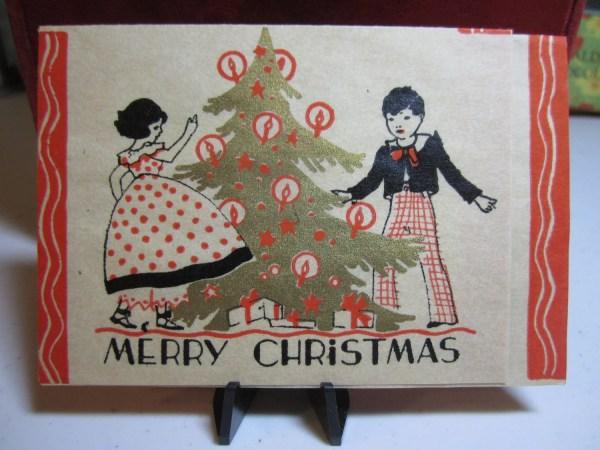 Art Deco 1930' Christmas Card Parchment Paper Little Girl