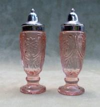 Salt and Pepper Shaker Set Pink Depression Glass Vintage