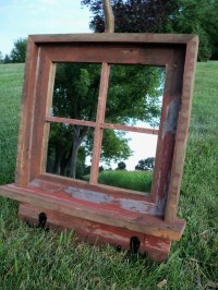 CUSTOM MADE Barnwood Framed Mirror with shelf and coat