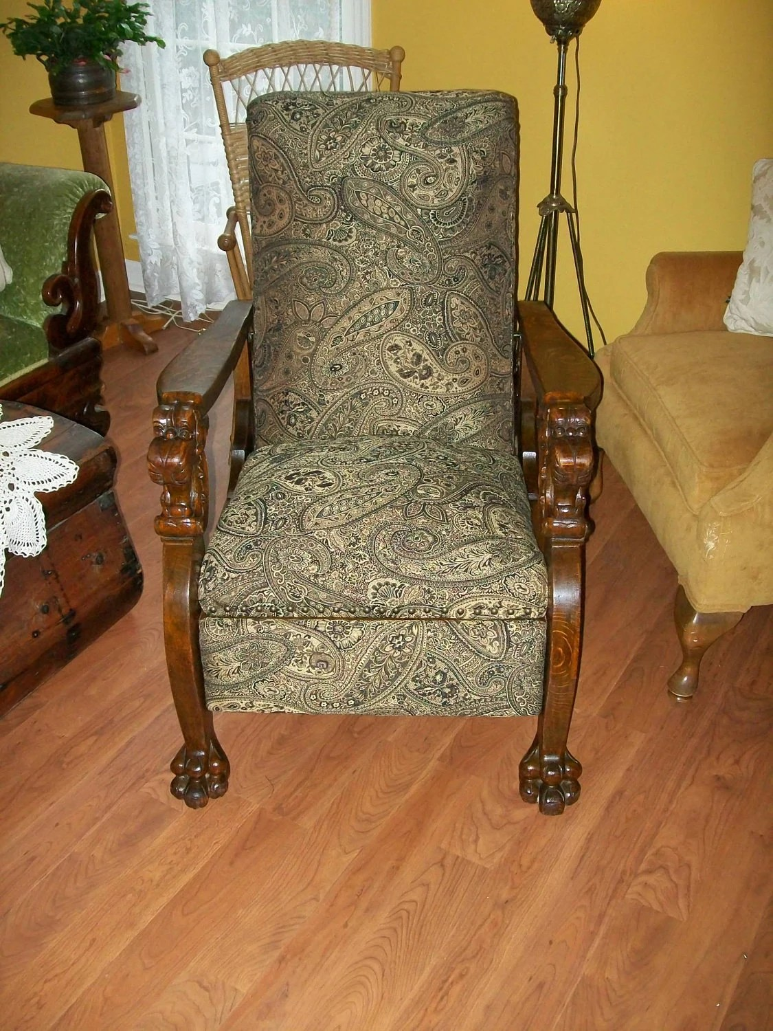 morris chairs for sale wooden hammock chair stand streit oak carved lion's heads feet
