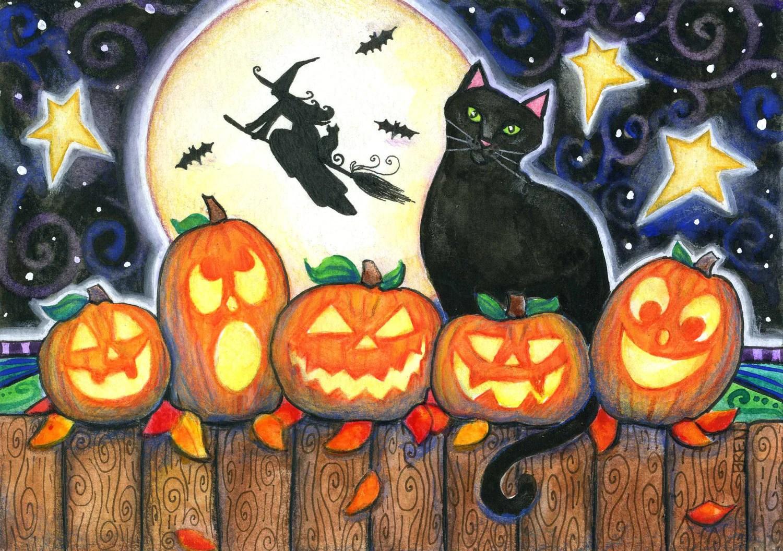 Five Little Pumpkins 5x7 Halloween Print Black Cat