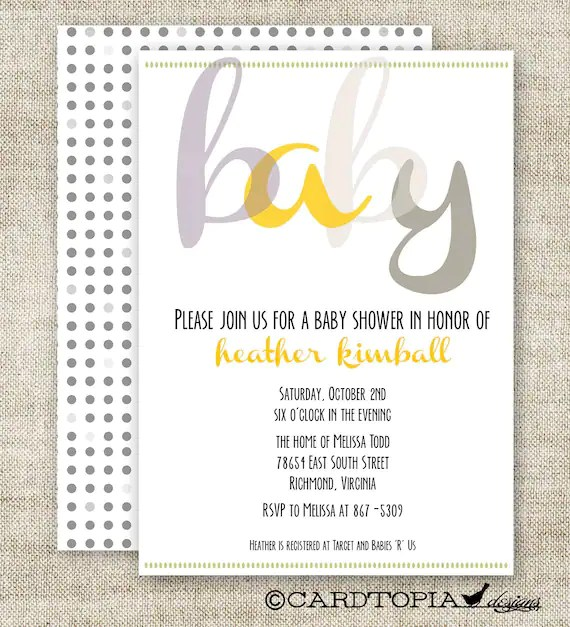 Baby Shower Invitations Grey And Yellow
