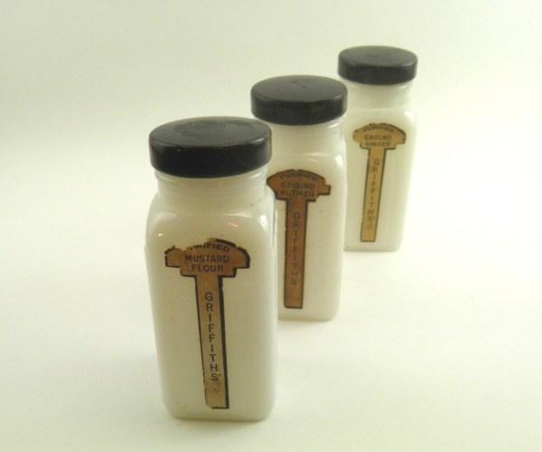 Art Deco Milk Glass Spice Jars Antique Kitchensinque