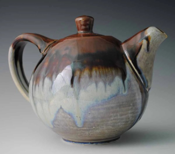 Glazed Ceramic Teapot Brown And White With Blue Tones
