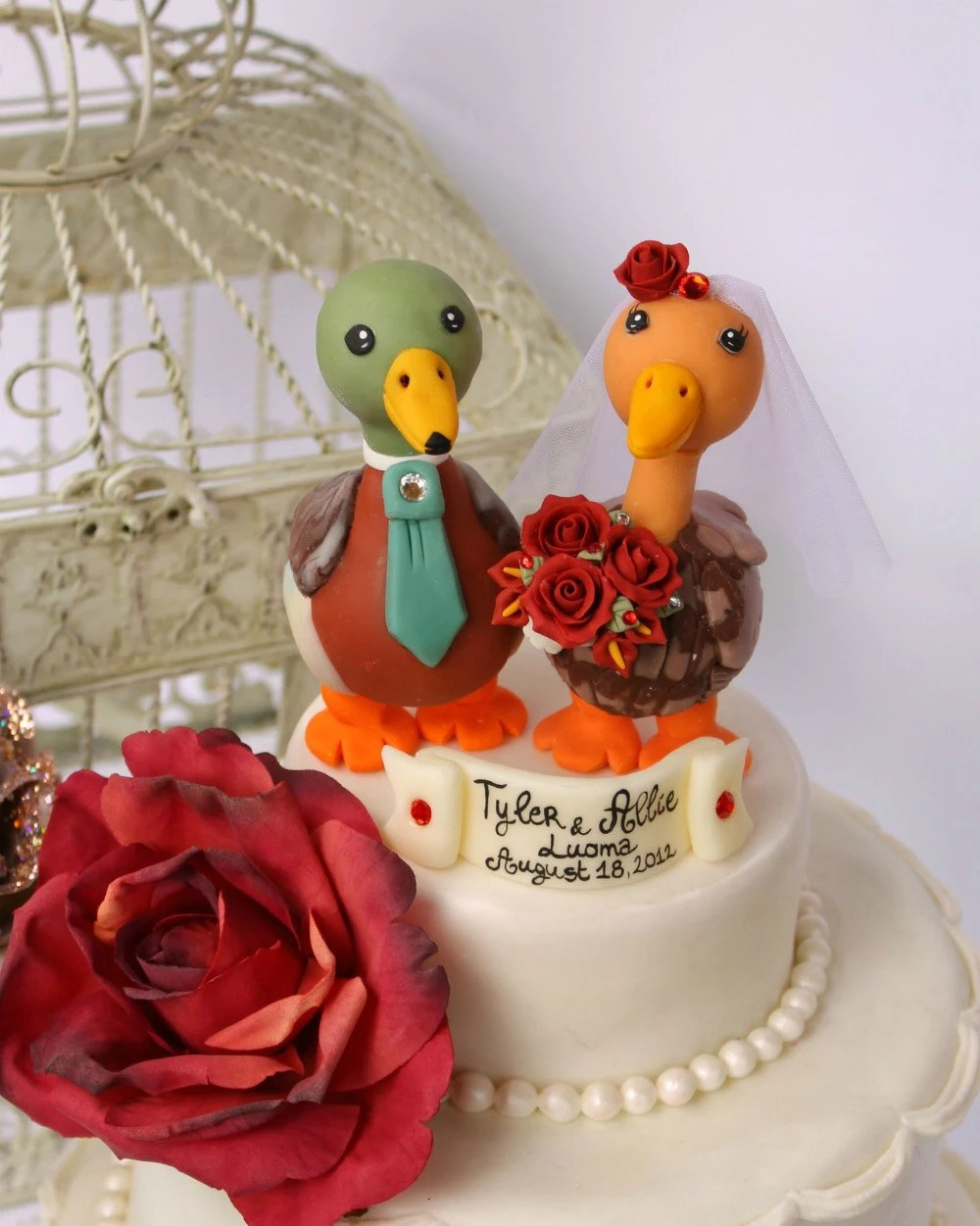 Duck wedding cake topper love birds with banner by PerlillaPets