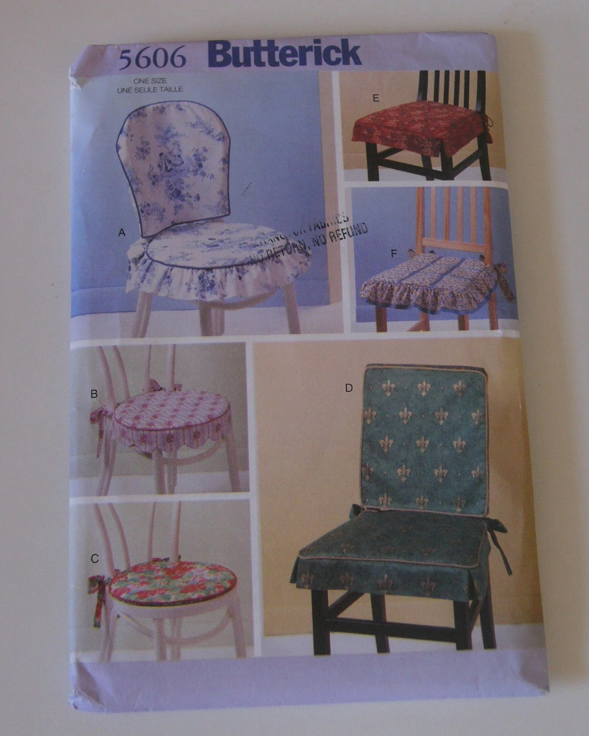 Sewing Pattern Chair back cover Pads UNCUT square or round