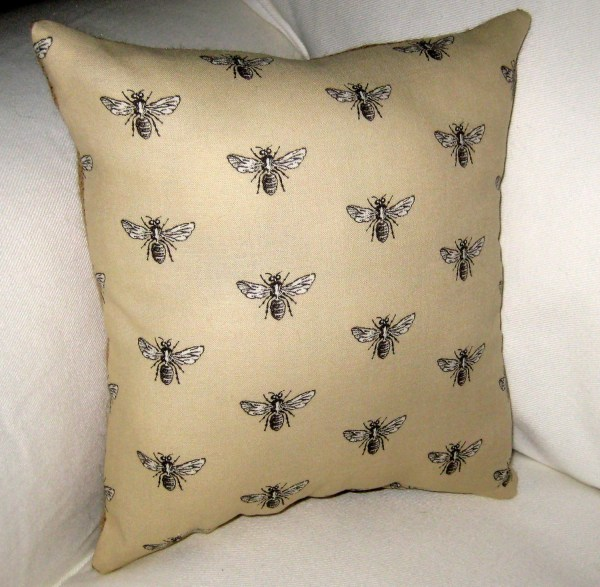 French Queen Bee Pillow With Burlap Reversible Shabby Chic