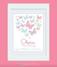 Olivia Custom Birth Announcement Wall Art Print. Butterflies.